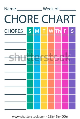 Chore chart colour template. Clipart image Stock photo ©