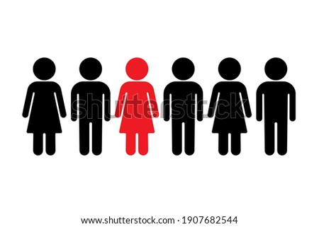 Chosen from a group of people. Group of people silhouette standing in row. Man and woman icon. Infected person. Vector illustration Stock photo ©