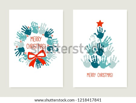 Chrismas cards to make with kids. Handprint Christmas tree with red star. Handprint Christmas wreath with red bow. Watercolor, acrylic children Christmas art. Vector illustration isolated on white