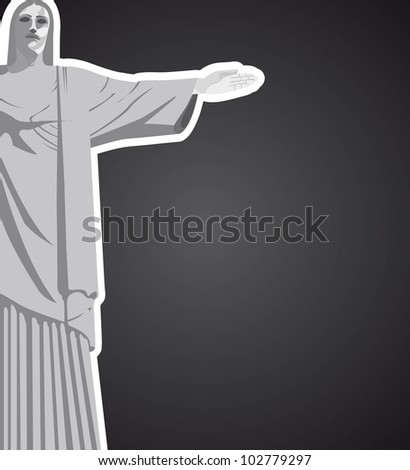 christ redeemer with space for copy over black background. vector
