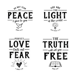 Christian Bible Verse Hand lettering Scripture Emblem Collection with hand-drawn icons on white background