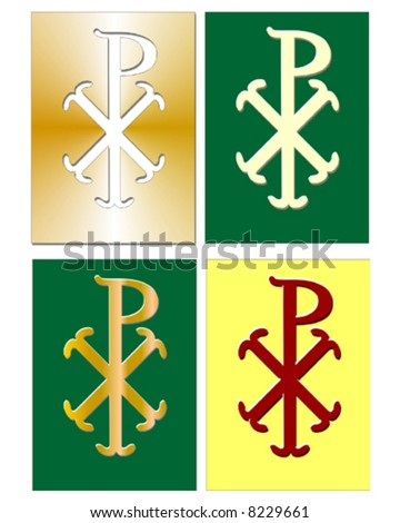 Christian Chi Rho symbol (for Christ) in different colors