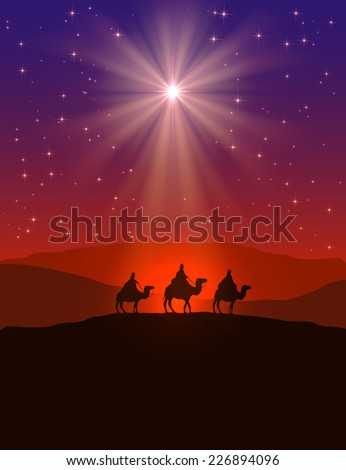 Christian Christmas background with shining star on night sky and three wise men illustration