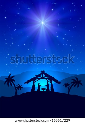 Christian Christmas night with shining star and Jesus, illustration.