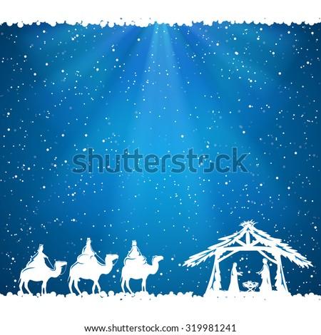 Christian Christmas scene on blue background, illustration.
