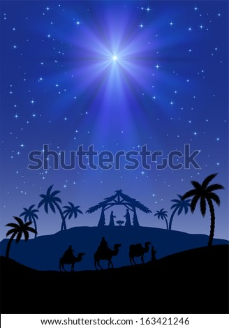 Christian Christmas scene with shining star illustration