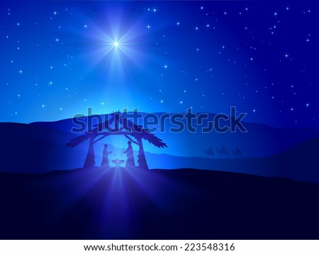 Christian Christmas scene with shining star on blue sky and birth of Jesus, illustration.