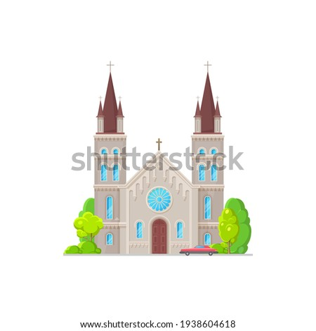 Christian church isolated catholic chapel with stained glass, towers with cross on top. Vector holly place to hold funeral and wedding ceremonies, cathedral or monastery evangelic or orthodox facade Stock photo ©