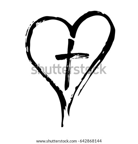 Christian cross and heart drawn by brush, isolated symbols on a white background.