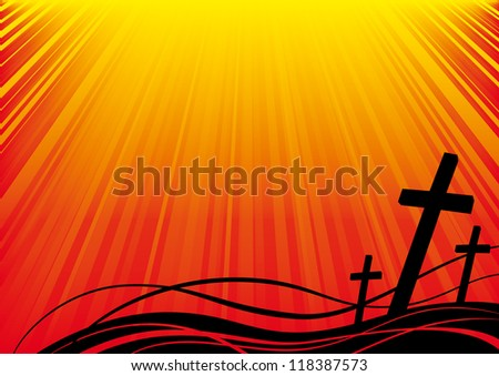 Christian cross bathed in light