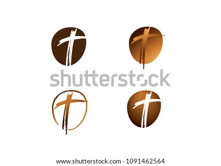 Christian cross church icon set logos. Christianity symbol of Jesus Christ. Natural brown brush strokes with rough edges. Silhouette outline of cross.