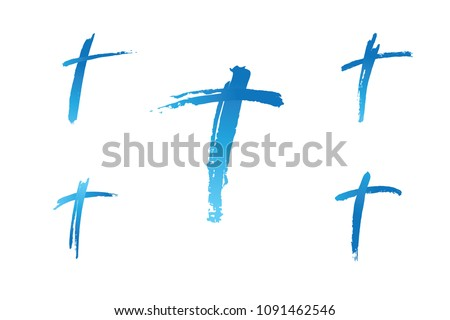 Christian cross church icon set logos. Christianity symbol of Jesus Christ. Natural teal and blue brush strokes with rough edges. Silhouette outline of cross.