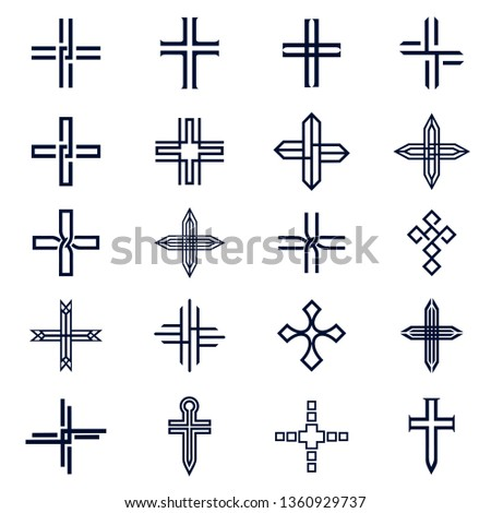 Christian cross church icon set logos. Christianity symbol of Jesus Christ.  Silhouette outline of cross. Vector line black christian cross set on white background