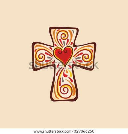 Christian cross. Heart, love.