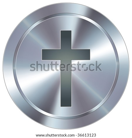 Christian cross icon on round stainless steel modern industrial button