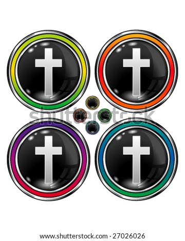 Christian cross icon on round vector button
