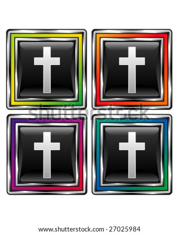 Christian Cross icon on square vector button