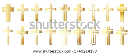 christian cross icons set gold