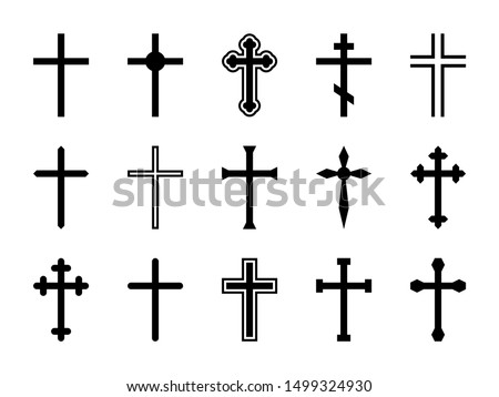 Christian cross. Jesus Christ crucifix, different shapes of orthodox and catalytic crosses religious silhouette signs vector decorative art god design isolated set Stock photo ©