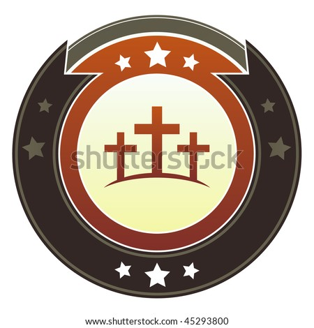 Christian cross or Calgary icon on round red and brown imperial vector button with star accents