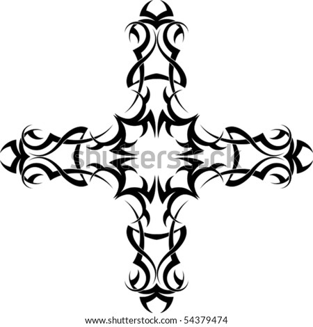 stock vector : christian Cross Tattoo
