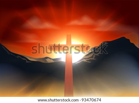 Christian cross with sun rising behind it over a mountain range. Could be used as resurrection Easter concept - stock vector