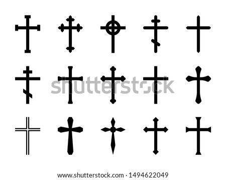 Christian crosses. Catholic, orthodox and celtic cross crucifix. Faith and prayer religious, christ church sign vector isolated decorative crossed outline resurrection icon set