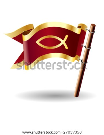 Christian fish symbol on red royal flag icon