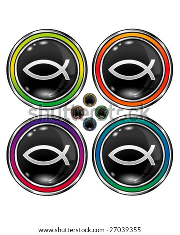 Christian fish symbol on round vector button
