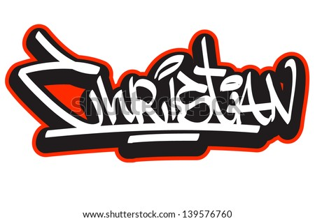 Christian graffiti font style name. Hip-hop design template for t ...