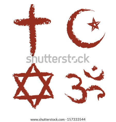 Christian, islam, judaism and hinduism religions painted signs vector set.