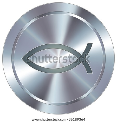 Christian Jesus fish icon on round stainless steel modern industrial button