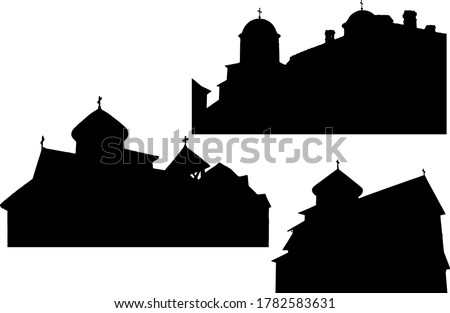 Christian monastery, temple silhouettes set in Byzantine style on white background ストックフォト ©
