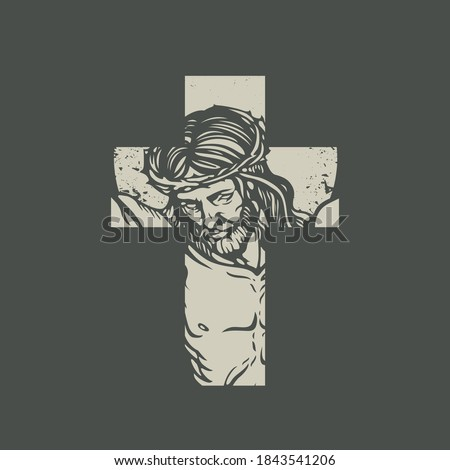 Christian or Catholic cross sign with crucified jesus christ on a dark background. Jesus Face on the cross. Vector illustration, religious symbol, icon, logo, print, tattoo, design element