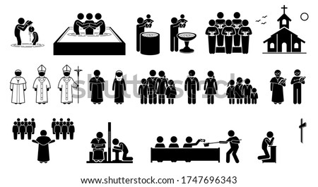 Christian religion practices and activities in church stick figures icons. Vector artwork of pope, priest, pastor, nun, and Christians followers. Cliparts of baptism, holy mass, confession and prayer. Stok fotoğraf ©