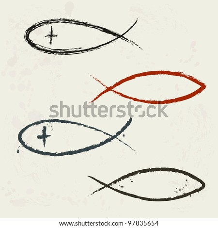 Christian religion symbol fish in grunge style