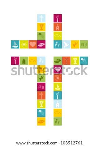 Christian religion symbols colorful