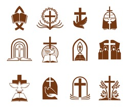 Christian religion vector icons with crosses, bibles and doves of God. Jesus Christ crucifix, prayer or priest, holy book, tree of life, thorn wreath and ichthys fish brown symbols of Christianity