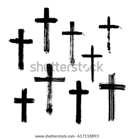 Christian religious symbol cross painted by brush.