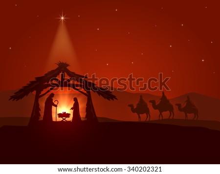 Christian theme, Christmas star and the birth of Jesus, illustration.