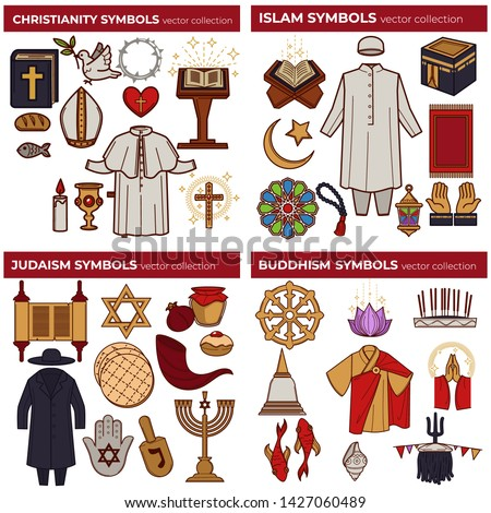 Christianity and Islam Judaism and Buddhism world religions symbols vector bible and koran torah and meditation Papa outfit and mosque David star and monk robe cross and moon hamsa and dharma wheel