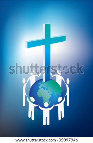 christianity and world surrounded by a ring of people