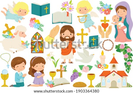 Christianity clipart bundle. Various religious symbols and cartoon characters of Jesus, Mary, cute angels and praying kids. Foto stock ©