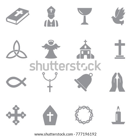 christianity icons gray flat