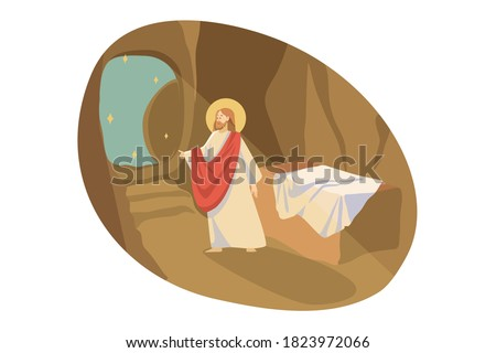 Christianity, religion, Bible concept. Jesus Christ son of God gospel prophet religious biblical character exit from tomb cave place of burial. Ascention of Messiah and New Testament illustration.