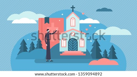 Christianity vector illustration. Flat tiny holy church priest persons concept. Sacred theology culture, esoteric ethnic tradition to pray Jesus and god. Symbolic catholic evangelist belief and faith. Stock photo ©