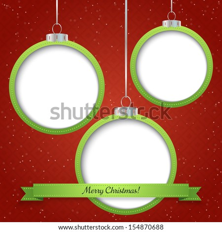 Christmas abstract background with three ornament balls . Vector illustration