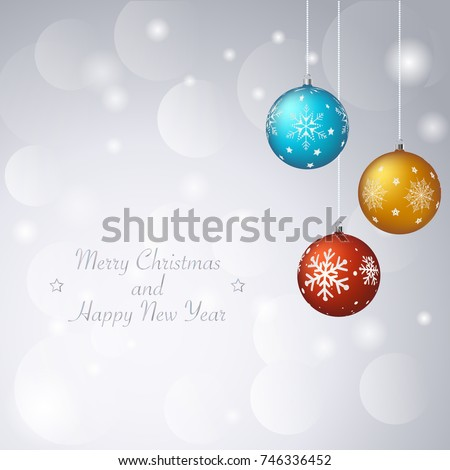 christmas abstract snowy background with balls and snowflakes new year background for greeting card
