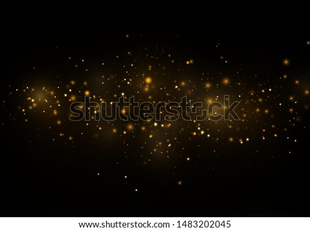 Christmas Abstract stylish light effect on a black  transparent background. Yellow dust yellow sparks and golden stars shine with special light. Vector sparkles   Sparkling magical dust particles.