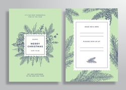 Christmas Abstract Vector Square Frame Greeting Card, Poster or Background. Back and Front Invitation Design Layout with Classy Typography. Sketch Pine Branches, Holly, Mistletoe and Flowers Isolated.